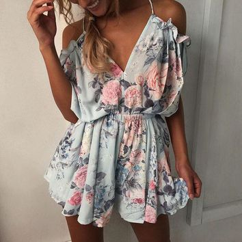 Fashion Women Off shoulder Ruffles Floral Print Romper Jumpsuit Playsuit Beach Female Strap Pleated Tunic Casual Rompers