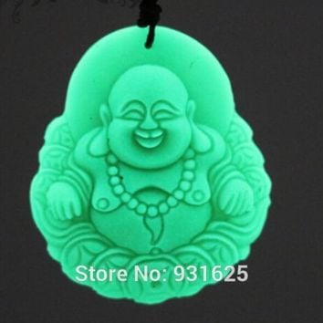 Wonderful Rarely Natural Fluorite Stone Carved Laughing Coin Buddha Pendant + Necklace Glow in Dark luminous stones Pendants