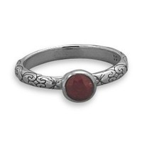 Oxidized Rough Cut Ruby Ring