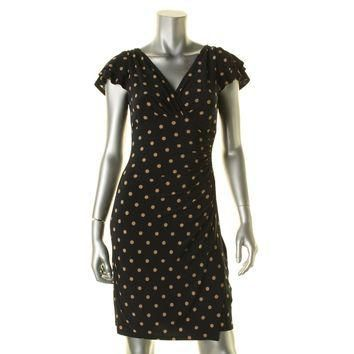 Lauren Ralph Lauren Womens Petites Surplice Polka Dot Cocktail Dress