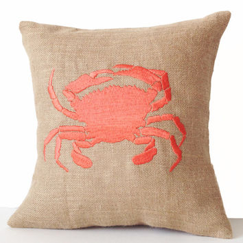 Sea pillow- Embroidered crab pillow cover -Burlap pillow -Coral throw pillow cushion -16x16 -Gift -Bedding -Coral cushion -Beach House Decor