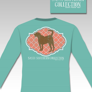 SALE Sassy Frass Southern Comfort Colors Molly Dog Long Sleeve Bright Girlie T Shirt