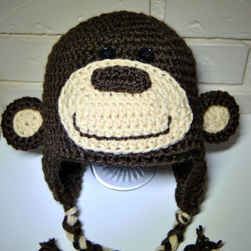 Monkey Crochet Hat, Kids Monkey Hat, Crochet Baby Hat, Boys Earflap Hat, Monkey Photo Prop, Newborn boy, Animal Hat, Toddler Boys Hat