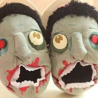 Plush Zombie Slippers - Indoor Floor Shoes and Halloween Toys