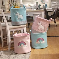 44*33*40cm 2018 New Unicorn Storage Basket for Toys Fabric Rainbow Printed Pink Clothes Basket for Child Folding Laundry Basket