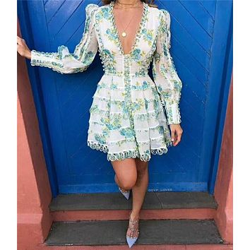 Autumn Floral Women Dress Puff Sleeve Deep V Printed Dress Lace Wavy Bottom Palace Style Dresses