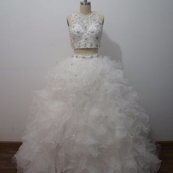 iLoveWedding Two Pieces Wedding Dress Organza Cascading Ruffles Casamento Wedding Gowns Beaded Crystals vestido de noiva