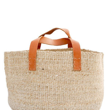 Jute & Leather Storage Basket