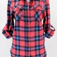 Blue / Coral Flannel plaid checkered shirt