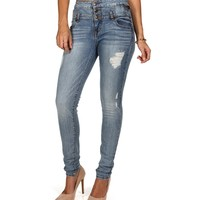 Sale-denim 3-button High Waist Jeans