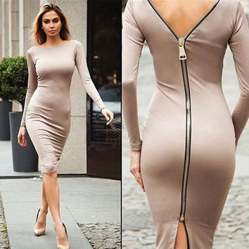 Autumn Long Sleeve Back Zipper Sheath Knee-Length Dresses Womens Solid Sexy Slim Party Night Club Dress Vestidos