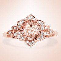 Morganite Engagement Ring, Vintage Lily Ring, Unique Engagement Ring, Leaf Ring, Art Deco Ring, Flower Ring, Morganite Ring