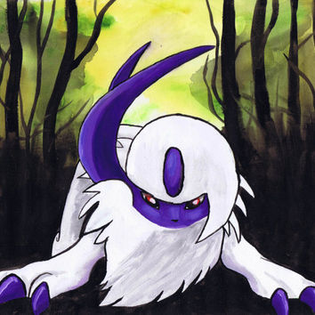 Pokemon Absol watercolor on canvas (10'x12') orignal art