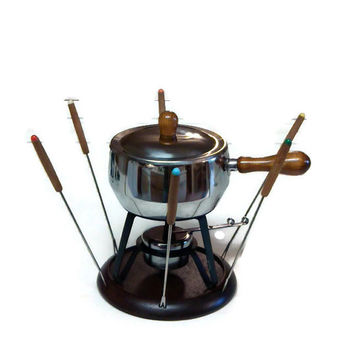 Vintage Fondue Set, Stainless Steel Fondue Pot with Wood Handles, Retro Kitchenware