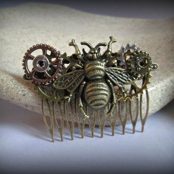 Bee hair accessories-Steampunk hair comb-hair fork-watch parts steampunk hair comb-gothic hair clip