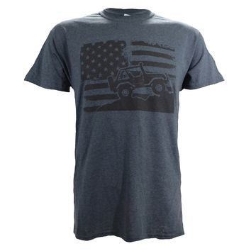 American Flag Off-Road on a Dark Heather T Shirt …