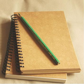 Vintage Kraft paper Coil noteBook Blank sketch book Creative Sketch Drawing Book Journal Personal Diary Note Stationery 01604