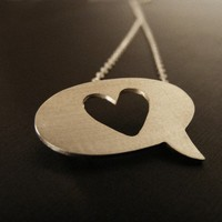speech bubble pendant, speech bubble necklace ,  heart Pendant , heart necklace,  Sterling Silver necklace.