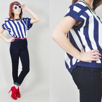 VINTAGE 80s silky navy & white wide graphic striped nautical oversized boxy preppy blouse top
