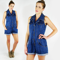 vtg 80s 90s grunge revival blue CHAMBRAY denim jean LACE-UP corset back romper play jump suit S M