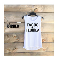 Tacos and Tequila   custom made Ultra soft Ladies muscle tank yoga top workout fun tank top