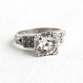 Vintage Art Deco Sterling Silver Faux Diamond Ring - 1940s Size 4 Clear Glass Rhinestone Engagement Style Cocktail Ring Jewelry