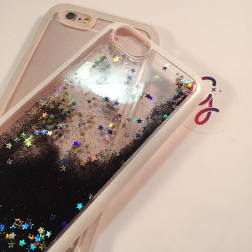TPU Two piece Black Holographic silver stars Glitter Liquid moving glitter iPhone 6+ 6 plus, 6, 6s quicksand sand glitter iphone case