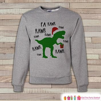 Dinosaur Christmas Sweater - Funny Adult Christmas Crewneck - Holiday Sweater - Family Christmas Outfit - T-Rex Sweater - Holiday Gift Idea