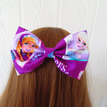 Hair bow / Frozen hair bow / Disney hair bow / hair bow / Elsa hair bow / Frozen hair clip / hair bow clip / Fabric bow / Anna / disney clip