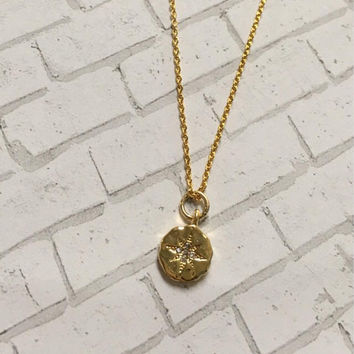 Small Gold Compass With Cubic Zirconia Necklace ~Modern Minimalist Collection~