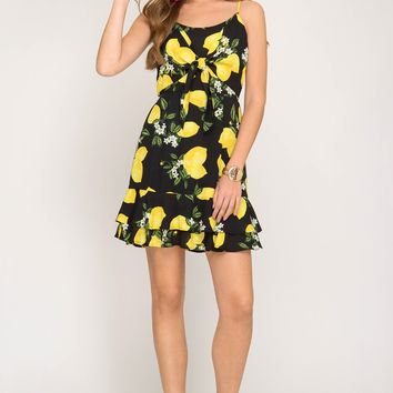 Sleeveless Lemon Print dress with Front Tie - Black