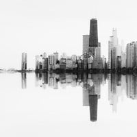 Chicago - Skyline photography, Chicago wall decor print - black and white, minimal, Chicago photograph, architecture, abstract - Soundwave