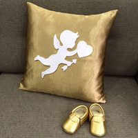 Cupid Love Gold Nursery Pillow Cover Booties Gold Baby Gift Set