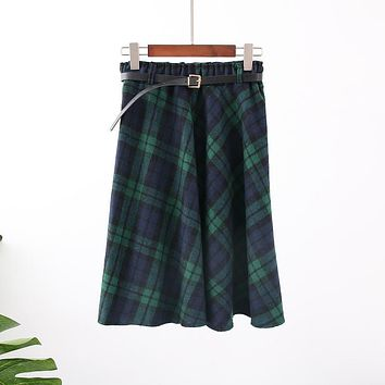 New Plaid Skirt Women Long A-Line Skirt British Style Woolen Plaid Skirts Kilt Winter Vintage Wool Tartan Umbrella Plaid Skirts