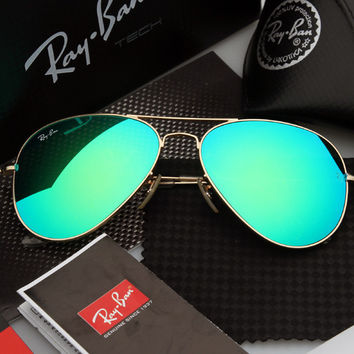 Ray Ban Aviator Sunglass Gold Green Purple Mirrored RB 3025