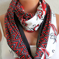 Infinity Scarf Orange White tribal print Circle Loop Scarf Women's Fashion Accessories, Fabric infinity scarf, Summer Wear, Aztec