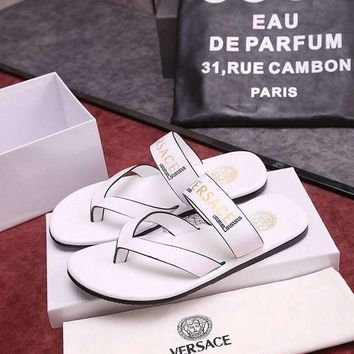 DCCK Versace Flip Flop Sandal Men Slipper Shoes White