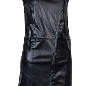 Studio M Women's 'Jacqueline' Faux Leather Zip Dress Vest (M, Black)