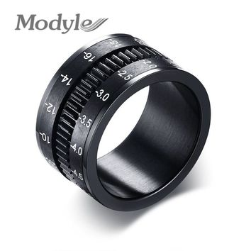 Modyle Men's Rings Stainless Steel Camera Lens Ring for Men Black Fashion Jewelry Spinner Band Photographers Accessories