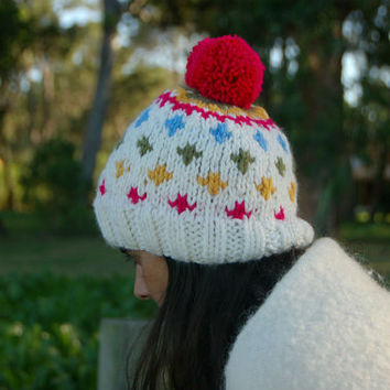 Pom Pom Beanie, Chunky Hat, Knitted Beanie, Minimal Design, Colorful Knit Hat, Womens Fair Isle Beanie, Winter Hat, Fall Fashion, Teens Hat