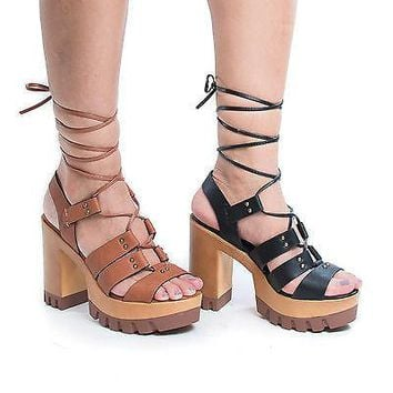 Leslie05 Corset Lace Up Sling Back Lug Sole Platform Chunky Heels Pumps