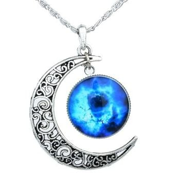 Yantu Black Blue Women's Crescent Moon Galactic Universe Cabochon Pendant Necklace Christmas Gift
