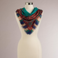 Teal and Red Paisley Stripe Square Scarf - World Market