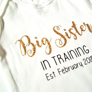 Big Sister in Training Bodysuit, big brother cousin, new baby announcement, baby shower, cute gifts, reveal, baby boy girl, pink glitter