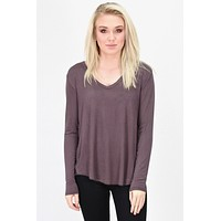 Loose Fit V-neck L/S Basic {Plum Brown}