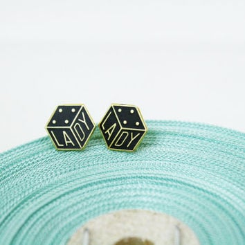 Vintage Dice LADY Earrings Posts Gold Plated