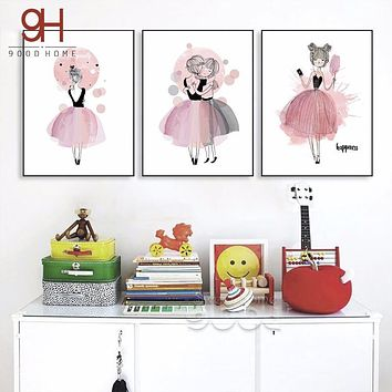 Watercolor Girls Canvas Art Print Poster,  Wall Pictures for Girl Room Decoration, Giclee Wall Decor CM022
