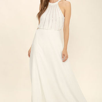 Real and True Cream Beaded Maxi Dress