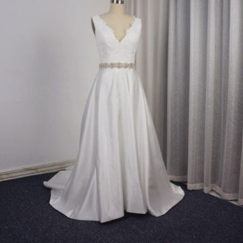 Lace Satin A line Wedding Dress with Rhinestone Belt V Back Bridal Gown