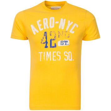 Aeropostale NYC 42nd St Yellow Mens T-shirt
